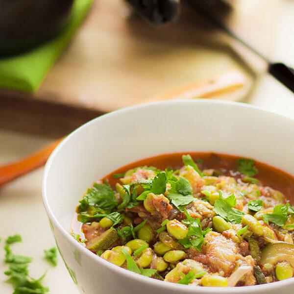 Young pumpkin and soybean curry, Farsi ra bhatmas