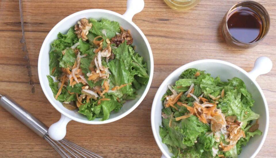 Nepali green leaf salad with hog plum dressing
